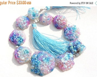 Summer Sale 10 Pcs Very Beautiful Natural Blue Titanium Coated Druzy Round Beads Size 30 - 16 MM