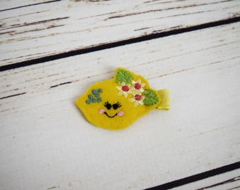 Handcrafted Lemon Girl Feltie Clip - Summer Bows - Lemon Birthday - Christmas Stocking Stuffer - Baby Girl Bows - Lemon Toddler Hair Clip