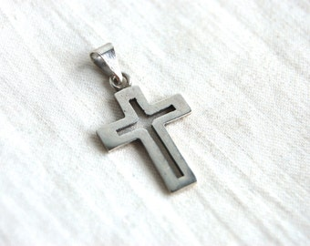 Mexican Cross Pendant Vintage Modern Sterling Silver Cross Necklace Taxco Mexico Minimalist Jewelry