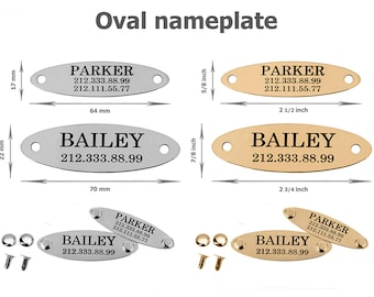 Oval Nameplate Dog Tag Personalized Pet ID Name Custom Engraved  24K Gold Plated Brass Stainless Steel