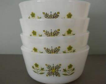 FireKing Meadow Green Ramekins • 1960s Vintage Four 6 oz. Custard Cup Ramekin Set • # 434 • Mid Century Modern Bakeware