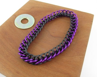 Purple Anodized Aluminum Stretch Chainmaille Chain Bracelet, Chainmail Bracelet, Chainmail Jewelry