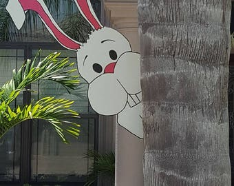 Bunny Tree Peeker Yard Art