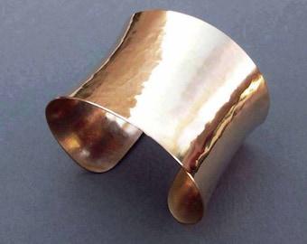 Shiny Bronze Cuff Bracelet Bronze Anniversary Gift for 8th Anniversary Modern Metal Handmade Metalsmith Jewelry 19th Anniversary Gift