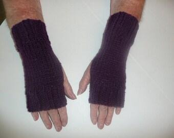 Hand Knit Fingerless Mittens/Texting Gloves - Dark Purple Wrist Warmers- One Size Fits All