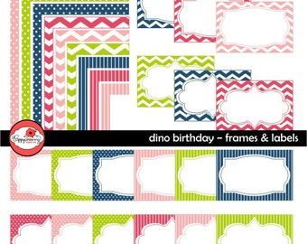 Dino Birthday Frames & Labels: Clip Art Pack Card Making Digital Frames Page Borders Chevron Dots Stripes