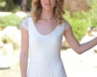 Olivia   -Romantic wedding dress with lace top and chiffon skirt, boho wedding dress, backless  wedding dress, beach wedding dress