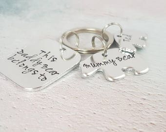 This Daddy belongs to keyring, Daddy keyring, personalised keyring, gift for dad, daddy bear keyring, gift for him, father's day gift