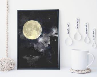 Moon art print, moon poster, galaxy art, home wall decor, apartment wall art, modern print, moon illustration, gift, nebula art, simple