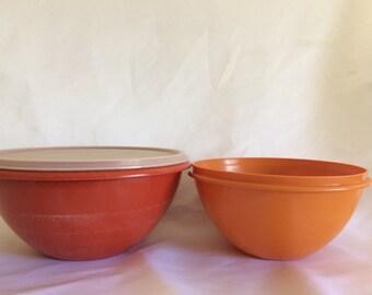 Vintage Tupperware Wonderlier Harvest Color Mixing Bowls