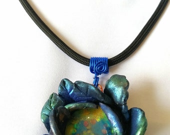 Floral Theme Polymer Clay Front and Back Double Piece Pendant