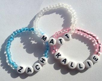 Bestselling Baby Name Bracelet, Personalized Baby Bracelet, Czech Beads, Stretch Bracelet