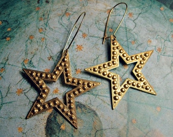 STAR STAR Earrings dangle earrings gold tone brass dotted stars jewelry