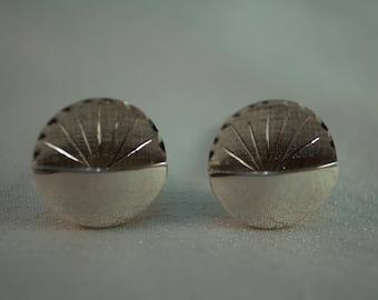 Midcentury Sterling Round Cufflinks with Pocket Design