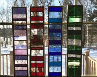 Geometric Stained Glass Suncatchers, Stained Glass Panel, Stained Glass Window, Window Hanging, Home Decor, Sun Catchers,