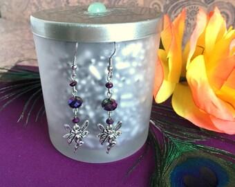 faerie charm earrings- purple fairy bead drop earrings