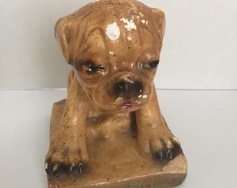 Vintage Carnival Prize Chalkware Chalk Dog Bulldog Nobody Loves Me