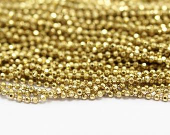 Brass Ball Chain, 20 M - 16.5 Feet (2mm) Raw Brass Faceted Ball Chain Mv17 ( Z041 )