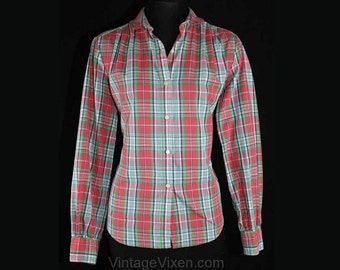 Size 12 Pink Plaid Blouse - Cute 70s Tomboy Shirt - Long Sleeved Cotton Preppy Top - Flirty Casual - Made In Hong Kong - Bust 39.5 - 39281