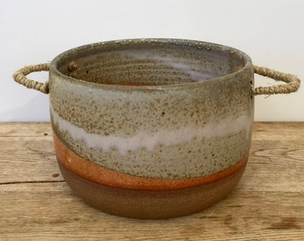 Large ceramic planter handmade on the potter's wheel and then glazed and fired on a gas kiln.