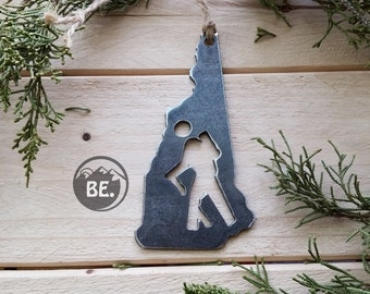 New Hampshire Hiker State Christmas Ornament Rustic Raw Steel NH Metal Heart ChristmasTree Decor Host Gift  Travel Wedding Stocking Stuffer