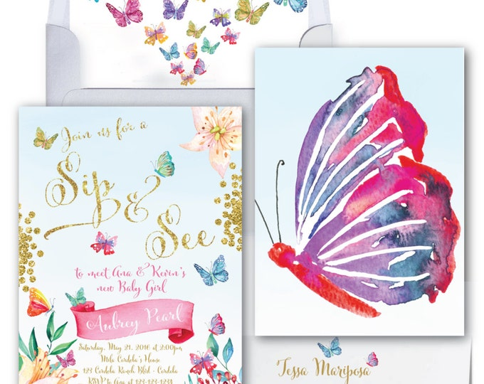 Butterfly Sip and See Invitation // Butterflies //Sip & See // Baby Shower Invitation // Watercolor // Gold Glitter // CORDOBA COLLECTION
