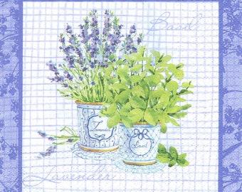 4 Decoupage Napkins, Paper Napkin for Decoupage, Lavender & Herbs Bouquet, Craft Napkin, Lavender Napkin, Decoupage Paper