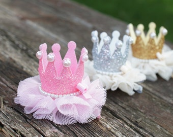 Princess Crown Hiar Clip - Pink, Gold and Silver Glitter Crown with alligator hair clip, girls gitfs, under 12 gifts