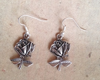 Rose earrings silver