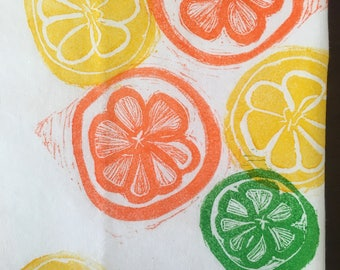 Block print Citrus Slice Tea Towel