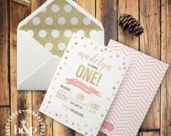 Pink & Gold Glitter Confetti Birthday Party Invitation