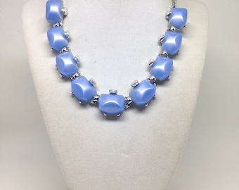 Vintage Estate Baby Blue Thermoset Stunning Silver Tone Necklace