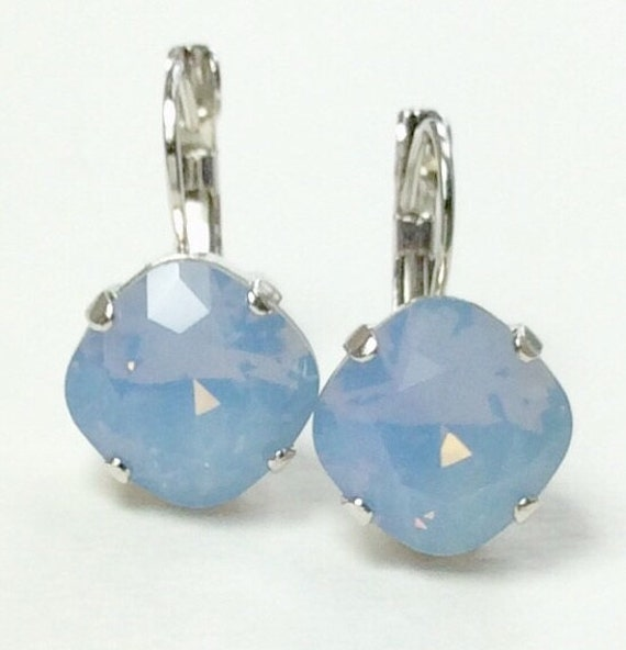 Swarovski Crystal 12MM Cushion Cut,  Lever- Back Drop Earrings -  Designer Inspired - Air Blue Opal  - On SALE - FREE SHIPPING