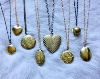 Vintage Brass Locket Necklace 8 Styles to Choose