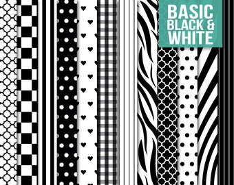 SALE * Black and White Basic Paper Pack - Digital Scrapbooking Printable for Crafting - Clipart - Instant Download - Rainbow
