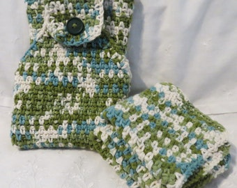 Hanging hand towel and dish cloths, crochet kitchen set, blue and green, handmade cotton washcloths, three piece kitchen set