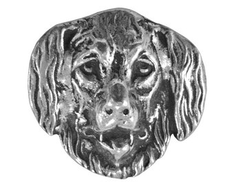 Newfoundland Dog 1 inch ( 25 mm ) Pewter Button Antique Silver Color