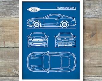 Auto Art Patent Print Ford Mustang 1968 Blueprint Bullitt