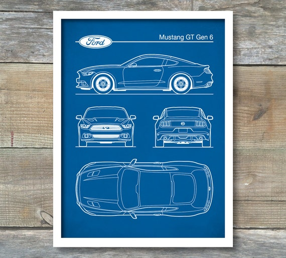 Ford mustang gen 6 blueprint auto art patent print car art malvernweather Gallery