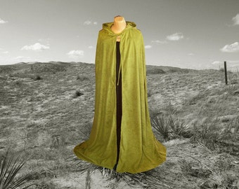 Green Cloak  Hooded Cape  Faux Suede Halloween Costume Renaissance Festival Wedding