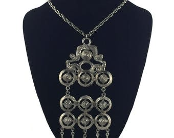 vintage 1970's silver statement necklace / modern modernist / large pendant necklace / costume jewelry / vintage jewelry