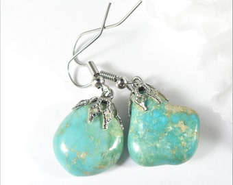 Genuine Turquoise Earrings, Southwest Earring, Turquoise Nugget Earrings, Southwestern Jewelry, Turquoise Jewelry, Repurposed Earrings