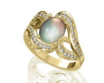 10x8mm Australian Black Opal Ring w/ 0.51ct Diamond in 14K or 18K Gold 2.26TCW Sku: R2443