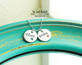 Name & Birthstone Necklace | Mother's Jewelry | Name Jewelry | Birthstone Necklace | Sterling Jewelry | Personalized Jewelry | Hand Stamped