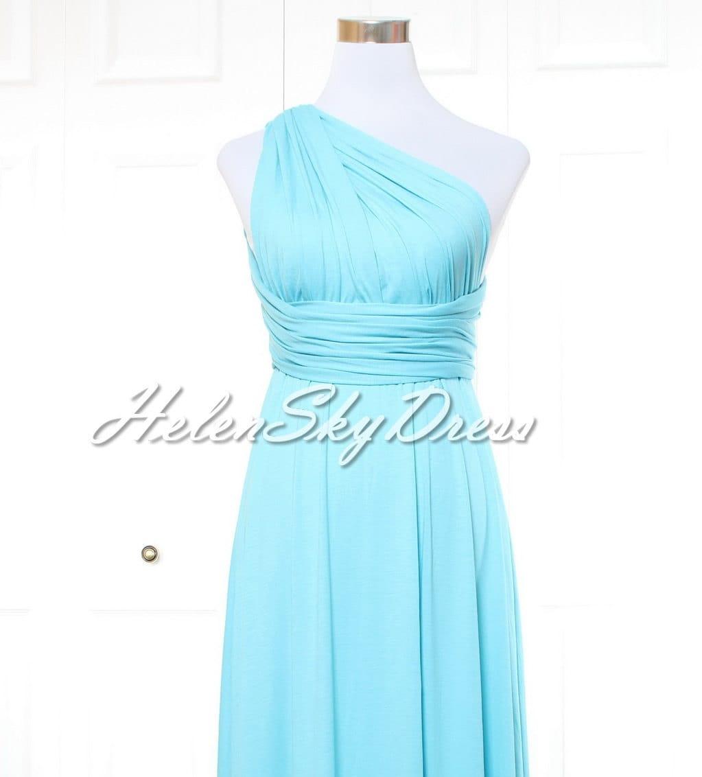 Short Bridesmaid Dress Infinity Dress sky Blue Knee Length