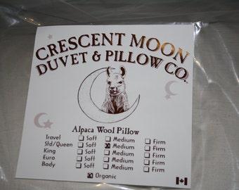 Standard Size Alpaca Wool Natural Organic Pillow