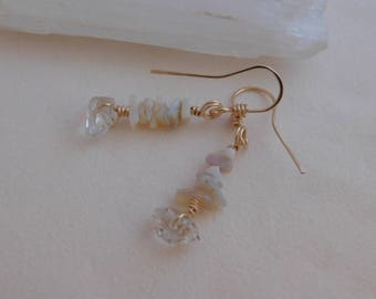 Diamond Quartz and Rough Opal Chips Wire Wrapped in 14K Gold Filled Wire Handmade Jewelry Amazing Authentic Wire Wrap Dangle Earrings