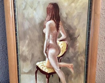 Sale Vintage Oil Painting Portrait Study of a Nude Woman O/C Art Signed Framed
