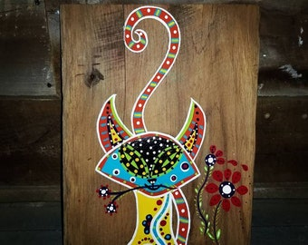 "Original artwork on Barnwood - ""Caught Red Handed"" whimsical folk art cat painting - one of a kind"