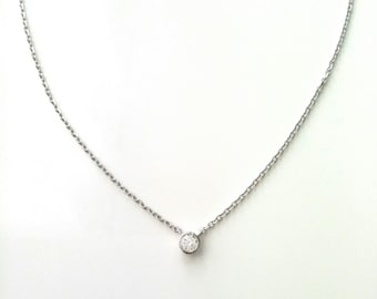Necklace on chain zirconia solitaire Sterling 925 Silver -, Choker necklace, Silver 925/000 - 925 sterling silver